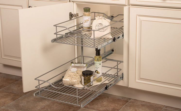The Two Tiered Unit Doubles Your Storage By Using The Empty Space Higher Up  In The Cabinet. Single And Double Units With Their Frosted Nickel Finish  Wire ...