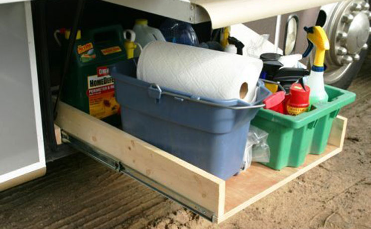 Rv cargo storage calls for heavy duty drawer slides kv knape vogt - Homemade truck bed storage ...