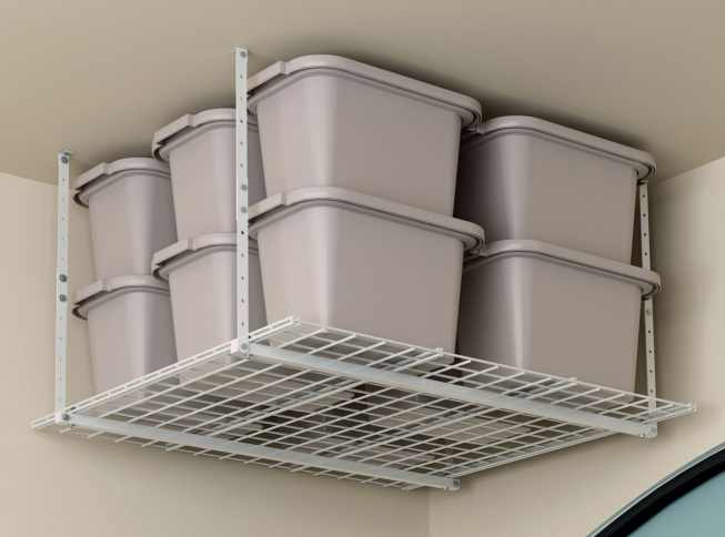 unit storage with overhead reviews ceiling garage organizing hyloft ceilings