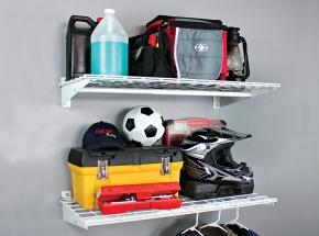 "00777 HyLoft® 36"" x 18"" 2-Shelf Wall Storage Unit, White"