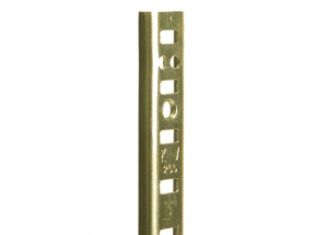 255 Series Steel Standard for Mortise-Mount Pilaster Shelving System, Brass-Look Finish