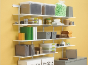 Shelving System with White Easy Installation Hang Rail, Standard Links and 182 Brackets