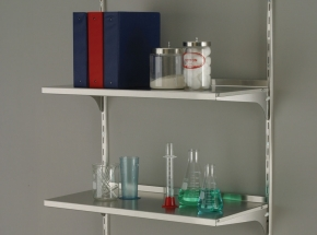Shelving System with 87/186/187 Series Anochrome Finish Steel Standards and Brackets
